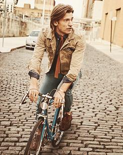 nikolaj coster-waldau in a bike