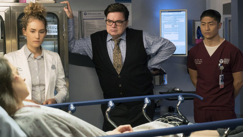 "CHICAGO MED -- ""Theseus' Ship"" Episode 213 -- Pictured: (l-r) Rachel DiPillo as Sarah Reese, Oliver Platt as Daniel Charles, Brian Tee as Ethan Choi -- (Photo by: Elizabeth Sisson/NBC)"